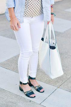 white denim #outfit #denim #fashion