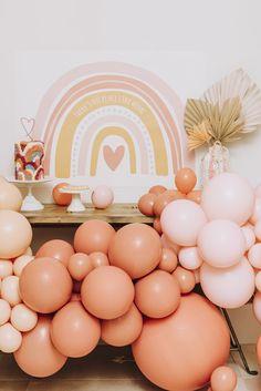 Rainbow Birthday Party, Baby Birthday, First Birthday Parties, Birthday Party Decorations, First Birthdays, Pastel Party Decorations, First Birthday Balloons, Balloon Decorations, Rainbow Baby