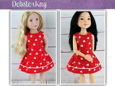 Love U Bunches Party Dress - Doll clothes to fit A Girl For All Time and BFC Ink dolls E60 by Debsterkay on Etsy https://www.etsy.com/listing/270049632/love-u-bunches-party-dress-doll-clothes
