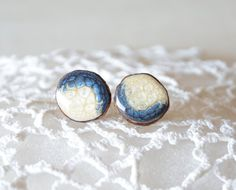 Blue and white wooden earrings hand painted on by MyPieceOfWood, $17.00