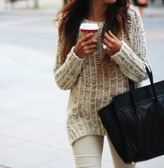 #fashion inspiration #style #comfy #sweater #knit #beige #fall #bag #coffee #chic #simple