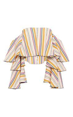 Carmen striped ruffle sleeve crop top by Caroline Constas | Moda Operandi