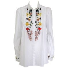 Magnificent Blumarine shirt Cotton White color Central folds Multicolored embroideries on centre and wrists Lenght from shoulder cm 66 inches) Original price € 1200 Worldwide express shipping included in the price ! Embroidery Ideas, Machine Embroidery, Embroidered Denim Shirt, Clothing Ideas, Needlework, Centre, Characters, Craft Ideas, Shoulder