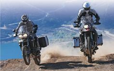 How about that for a view? Two riders crest a hill on TKC leaving clear blue waters behind them. Adventure Tours, Adventure Time, Adventure Travel, Motorcycle Travel, Motorcycle Adventure, Motorcycle Touring, Triumph Tiger 800 Xc, Off Road Bikes, Dual Sport
