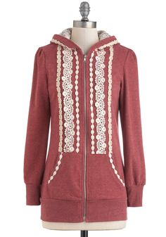 Add lace to a plain Hoodie.  I smell an afternoon project!