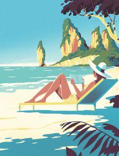 Steve Scott - Editorial Illustrations Nov 2017 - Feb 2018 on Behance Beach Illustration, Landscape Illustration, Graphic Design Illustration, Digital Illustration, Fond Pop Art, Poster Photo, Posca Art, Art Watercolor, Art Deco Posters