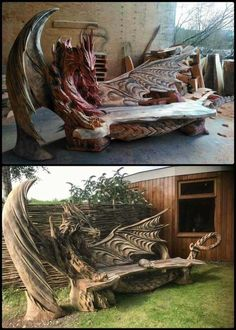 New Ideas Wood Sculpture Dragon Unique Furniture, Wood Furniture, Jardin Decor, Gothic House, Dragon Art, Dragons, Wood Art, Wood Projects, Backyard