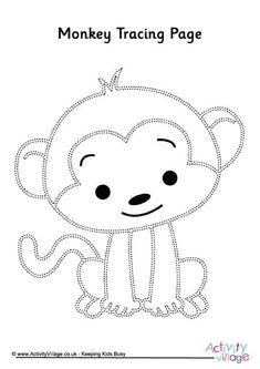 Practice pencil skills with this adorable little monkey tracing page! Monkey Drawing, Monkey Art, String Art Templates, String Art Patterns, Monkey Coloring Pages, Coloring Books, Jungle Animals, Felt Animals, Monkey Template