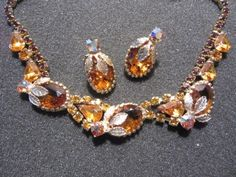 Vintage Amber Rhinestone Necklace and Clip Earrings Set