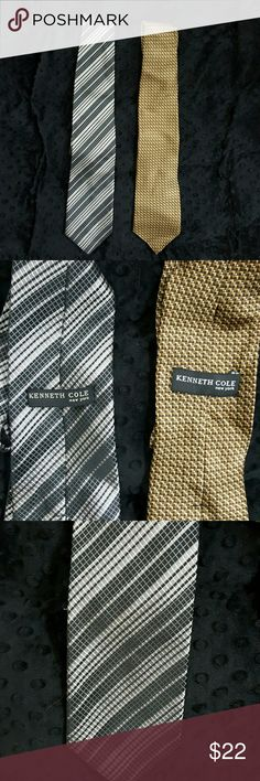 Lot of Kenneth Cole Silk Ties, OS Two Kenneth Cole silk ties in excellent pre-owned condition!  The first tie is steel gray and white with a diagonal pattern.  The second tie is goldish brown with a cool geometric pattern.  Each of these ties retail for approximately $60-80, so the price listed is definately a super bargain! Kenneth Cole Other