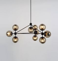 Modo Chandelier - 3 Sided, 10 Globes (Black/Smoke) Roll and Hill - polished nickel and clear glass - 4000$