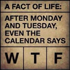 A fact of life: after monday and tuesday even the calendar says #WTF
