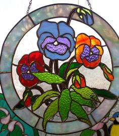Colorful Pansies Circular Stained Glass by WomanCaveTreasures, $40.00