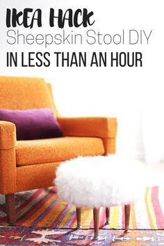 DIY Home Decor Inspiration : Ikea hack alert: sheepskin foot stool fur stool DIY for your bedroom decor. Diy Home Decor On A Budget, Cheap Home Decor, Decorating Your Home, Ikea Stool, Diy Stool, Step Stools, Foot Stools, Sheepskin Stool, Diy Footstool