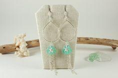 Aqua glass petal starfish earrings | skinny pig designs