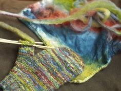 knitting directly from Mawatas, no spinning! Pretty!