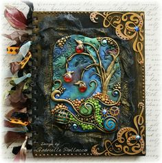 Mixed Media (Polymer Clay/mica/chipboard) Journal Cover made by Gabrielle Pollacco ~ Click Photo for Video tutorial on creating with Polymer clay & Mica powders