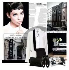 """""""I free my mind in my androgyny."""" by frostymorning ❤ liked on Polyvore featuring Holmes & Yang, Forever New, Chanel, Givenchy, Dolce&Gabbana, SimpleOutfits, blackandwhite, suit, whiteshirt and androgyny"""