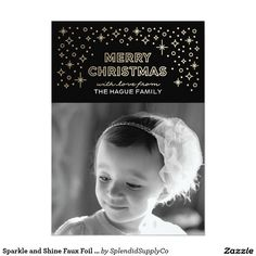 Sparkle and Shine Faux Foil Christmas Photo Card - modern black and #gold faux foil holiday photo card