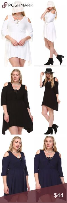 💥RJ LACE-UP COLD SHOULDER TUNIC💥 Get your sexy back!! 💋💋 Wear this tunic with your favorite leggings or Jeggings!! 💋💋 You can also wear it as a dress!! Comes in Black, Navy or White!!   Lace-up Cold Shoulder with Hanky Hem. 95% Rayon 5% Spandex Tops Tunics