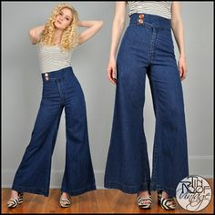 Vintage 70's BELL BOTTOM Jeans High Waisted Waist Denim Wide Leg ...