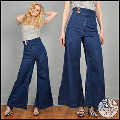 Vintage 70's BELL BOTTOM Jeans High Waisted Waist Denim Wide Leg ...
