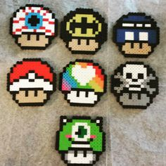 Mushrooms perler beads by spiderjessi5