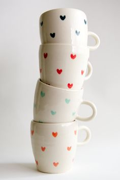 Coffee Mug Set of 4 Heart Pattern in Teal Coral Red and by RossLab, $104.00