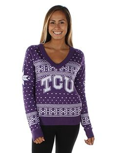 Women's Texas Christian University Sweater - TCU Horned Frogs Ugly Christmas Sweater