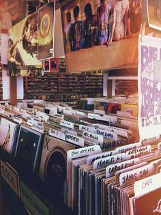 records in record store. #music #records #vinyl http://www.pinterest.com/TheHitman14/for-the-record/