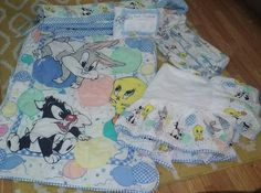 vintage  Looney Tunes Gingham Baby Fabric Crib bedding set 5 pieces tweety bugs #LooneyTunes