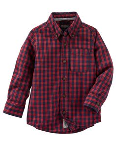 Kid Boy Plaid Button-Front Shirt from OshKosh B'gosh. Shop clothing & accessories from a trusted name in kids, toddlers, and baby clothes.