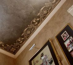 Love this stenciled and textured ceiling