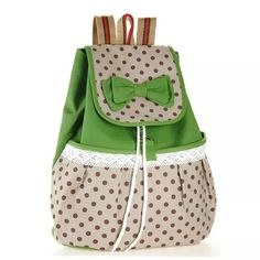 HOT 2014 Printing Backpack Women Bow Fashion Mochilas School Bags for Teenage Girls Canvas Sexy Cute String Rucksacks Knapsacks-inBackpacks . Cute Backpacks, School Backpacks, Canvas Backpack, Backpack Bags, Small Backpack, Travel Backpack, College Bags For Girls, Shabby Chic Stil, Fabric Bags