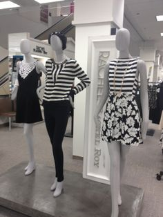 Love the stripe and floral combo! Black and white   Spring 2014 As seen at The Bay.  We love finding trend inspiration in fashion and window displays!