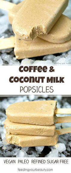 Coffee Coconut Milk Popsicles - vegan, paleo, refined sugar free #IceCream