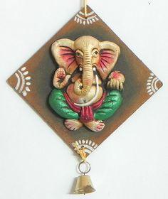 Ganesha on a Hardboard - Wall Hanging (Terracotta))