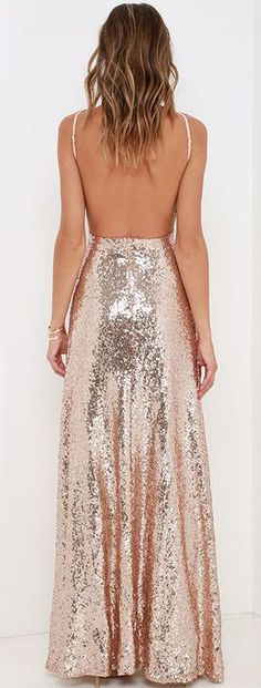 Backless Rose Gold Sequin Maxi Dress, for the formal rehearsal dinner Vestido Rose Gold, Rose Gold Homecoming Dress, Rose Gold Dresses, Rose Gold Gown, Bridesmaid Dresses, Prom Dresses, Formal Dresses, Sequin Formal Dress, Bridesmaids
