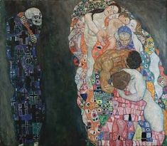 *Gustav Klimt-Ölüm ve Yaşam (Death and Life)  Gustav Klimt was an Austrian symbolist painter. İn this work he reflected death and life.Death and Life has two very clearly separated parts. To the left, we see Death. Death has religious symbol and dark.To the right we see life. We see a number of young women lying on a flower bed.Life has bright,color and flowers. Death watchs life and life watch death. Klimt want to tell death and life exist together. Thank you 🌸