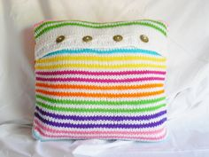 White Pillow Cover Multi Color Stripes Country by IsabellasDesign