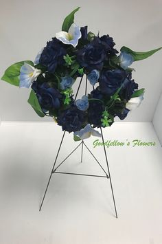 Silk Faux Flower Blue Circular Wreath Filled With Blue Roses and Ombre Light Blue and White Calla Lilies Calla Lilies, Blue Roses, Faux Flowers, Floral Arrangements, Light Blue, Lily, Blue And White, Wreaths, Beautiful