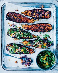Chermoula baked aubergine with spiced chickpeas recipe from Green Kitchen At Home by David Frenkiel | Cooked