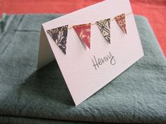 sewing 101: paper-stitched place cards | Design*Sponge could easily be converted to homemade cards!
