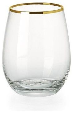 Stemless Wineglasses, Gold Rimmed contemporary cups and glassware