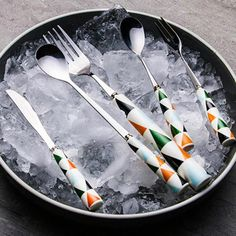 1PCS Ceramics Handle Stainless Steel Dinnerware The Nordic Triangle Dessert Coffee Spoons Forks for Tableware 3