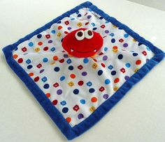 Graco White Blue Red Monster Dots Plush Baby Lovey Security Blanket #Graco