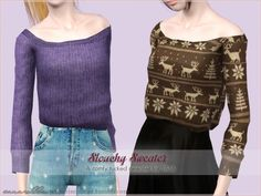 Waist tucked slouchy sweater by Sim-pli Caz - Sims 3 Downloads CC Caboodle