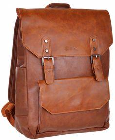 Amazon.com: Good&god Pu Leather Laptop Backpack School Bookback Bag Brown: Clothing