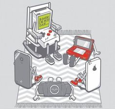 back in my days - a long time ago - there were things called batterys there were no chargers and if you wanted to change a game you had to put in a cartridge 3inchs long, because there was no apps. Geek. Nintendo :-)