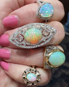 These rings have it all: sparkle, style, pizzazz and glamour. #opals #ethiopianopals #rosecutdiamonds #sapphires #gold #mensrings #finejewelry #jewelry #yesplease